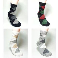 4 pairs Cotton Casual Man' s High quality Argyle socks