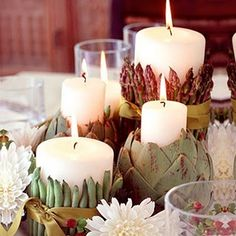Veggies as candle holders... Go green for fall.
