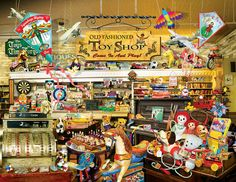 An Old Fashioned Toy Shop is a 1000 piece jigsaw puzzle from SunsOut featuring artwork by Lori Schory. Larger pieces for easier seeing and handling making this the perfect puzzle for aging hands and eyes.