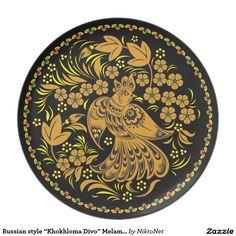 "Russian style ""Khokhloma Divo"" Melamine Plate"