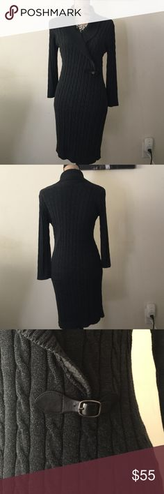 Calvin Klein Carvel Knot Sweater Dress Charcoal Calvin Klein Cable Knot Sweater Dress. buckle accent. Excellent Condition. Worn less than 5 times.                                                                                 Offers Welcome!  Bundles Welcome! Calvin Klein Dresses Long Sleeve