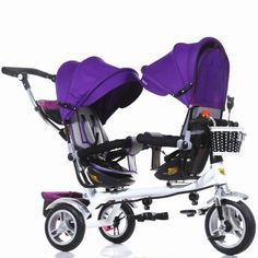 Just in! The 3 Wheel Twins Stroller Double Seat Tricycle Shockproof Baby Stroller 3 in 1 Portable Pram Mutiple Child Kid Bicycle Kinderwage.
