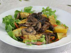 Sýty a chutný šalát s hubami a chrumkavou zeleninkou. Ľahký na strávenie, vhodný aj ako hlavné jedlo.