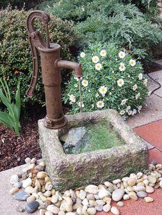 Polenca fountain made of polystone (item no. Patio Water Fountain, Diy Garden Fountains, Diy Fountain, Garden Sink, Water Garden, Mdr Garten, Ideas Terraza, Diy Bird Bath, Vintage Garden Decor