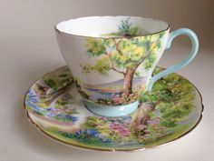 Nature Inspired Woodlands Pattern, Shelley Teacup and Saucer, Richmond Shape Tea Cup and Saucer, Tea Set, English Teacups, VogueTeam by AprilsLuxuries on Etsy https://www.etsy.com/listing/200709645/nature-inspired-woodlands-pattern