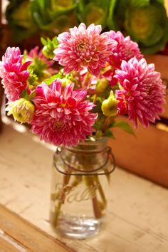 Pink Dahlias in a mason jar ... sweet and beautiful  :)