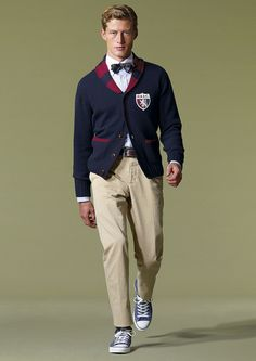 blue and red ivy cardigan, khakis, white oxford, black bow tie
