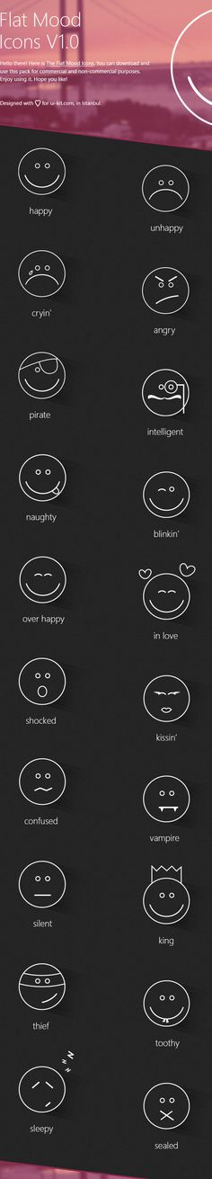 Flat Mood Icons by Deniz Hacisalihoglu, via Behance