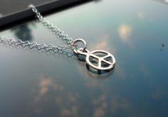 Tiny PEACE Sign Solid Sterling Silver by Jenalynscreations on Etsy, $18.99
