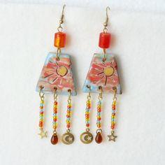 Grandes Boucles d'Oreilles Soleil Perles Breloques : Boucles d'oreille par bleulucioleshop