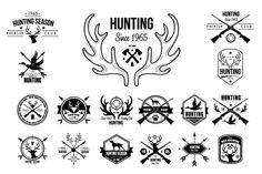 Hunting Badges Labels Logo Design by TopVectors on Creative Market