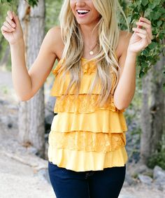 Look at this Bella Ella Boutique Mustard Lace Ruffle Shell Tank on #zulily today!