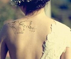 Wanderlust shoulder world map globe tattoo girl woman lady small black ...