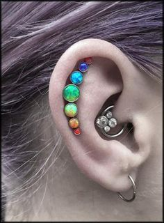 The Aries Witch ♈ Body piercing jewellery - unique conch ear stud - purple coloured hair Piercing Tattoo, Daith Piercing, Septum, Types Of Ear Piercings, Body Piercings, Tongue Piercings, Ear Jewelry, Body Jewelry, Jewlery