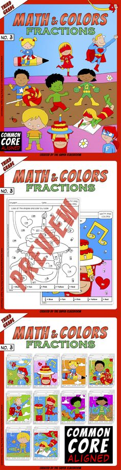 Math and Colors – 003 – Fractions - 3rd grade - Common Core Aligned With these puzzles students will color by looking at the shapes and using the words: one half, one third, one fourth, one fifth, one sixth. This product implements the following Common Core Standard: 3.GA.2 $