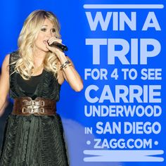 I entered to win a trip for 4 to see Carrie Underwood in San Diego (an awesome @ZAGGdaily Giveaway!) http://zagg.to/jZR9Zm