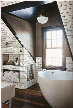 Black grout subway tile  and hardwood hmm black grout might be an option