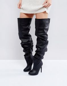 7ab3b5a02191 Public Desire Black Slouch Over The Knee Boots