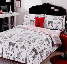 Paris ~ Ooh La La ~ Black/White/Red Single/Twin Quilt Cover Set 225 TC New