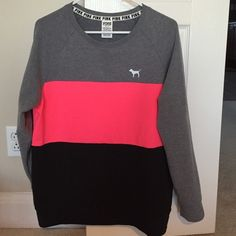 NWT VS Pink Color Block Crewneck Sz Small New with tags Victoria's Secret Pink Color Block Sweatshirt size Small! Smoke free home! This fits a small to medium! It is a little over sized :) PINK Victoria's Secret Tops Sweatshirts & Hoodies