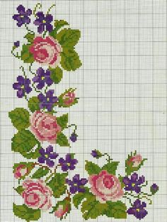 no color chart available, just use pattern… Cross Stitch Rose, Cross Stitch Borders, Cross Stitch Flowers, Cross Stitch Charts, Cross Stitch Designs, Cross Stitching, Cross Stitch Embroidery, Embroidery Patterns, Cross Stitch Patterns