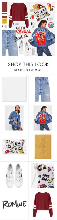 """Get it casual with #Romwe"" by juhh ❤ liked on Polyvore featuring RE/DONE, Royce Leather, Hello Kitty and Marc Jacobs"