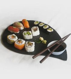 Salvaged Slate & Porcelain Sushi Serving Platter by Simplynu. Great to use for a date night in.