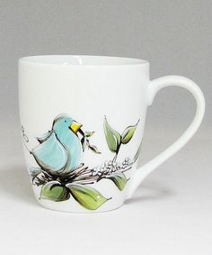Tasse blanche : : Oiseau   *** Produit peint à la main. China Painting, Dot Painting, Creative Outlet, Pottery Painting, Teapots, Ceramic Pottery, Coffee Cups, Stained Glass, Arts And Crafts