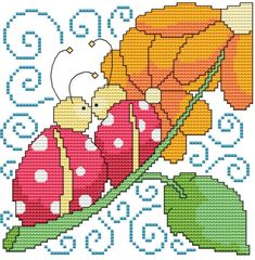 From Cross Stitch Wonders - Flowers And Friends Lady Bug Adorable Flowers And Friends Lady Bug Design! Stitch count is 80 x Included is a large/easy to read counted cross stitch chart, suggested DMC floss colors, and a color picture. Butterfly Cross Stitch, Cross Stitch Bird, Cross Stitch Animals, Cross Stitch Flowers, Cross Stitch Charts, Cross Stitch Designs, Cross Stitching, Cross Stitch Embroidery, Embroidery Patterns