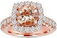 #Jewelry #Rings 3.15CT Morganite & Diamond Cushion Halo Engagement Ring 14K Rose Gold