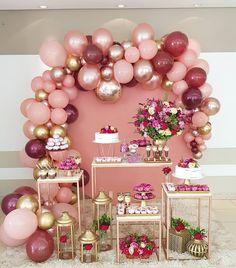 Balloon wall decor and flowering birthday party concept. Birthday Balloon Decorations, Birthday Balloons, Baby Shower Decorations, Wedding Decorations, Surprise Party Decorations, Shower Party, Bridal Shower, 18th Birthday Party, Birthday Ideas