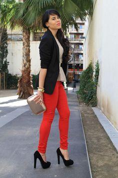 black blazer and red skinnies with black platform pumps