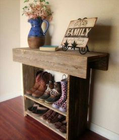 Pallet Wood-Redone to Create a Shoe Rack. Want to do this in the entry with a sit down bench on the side