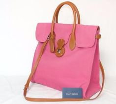 RALPH-LAUREN-canvas-leather-RICKY-tote-bag-HOT-PINK-NWT