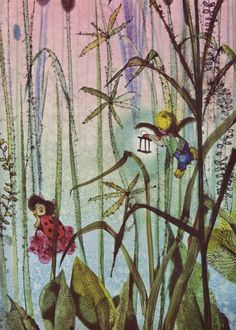 Illustrations for Hans Christian Andersons Fairy Tales By Jiri Trnka 1959 Art And Illustration, Illustration Children, Book Illustrations, Fairy Land, Fairy Tales, Flowers Nature, Animation Film, Conte, Faeries
