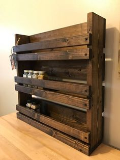 Details about Spice Rack Kitchen Organizer Storage 3 Shelf Wall Mount Wood Wooden Rustic House Spice
