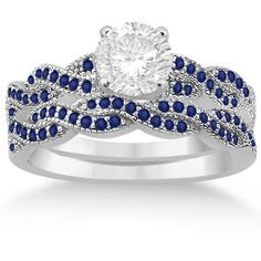 Allurez Infinity Twisted Blue Sapphire Bridal Set Setting 14k W Gold... ($1,835) ❤ liked on Polyvore featuring jewelry, rings, white gold, 14k gold ring, yellow gold wedding rings, blue engagement rings, wide-band rings and gold wedding rings