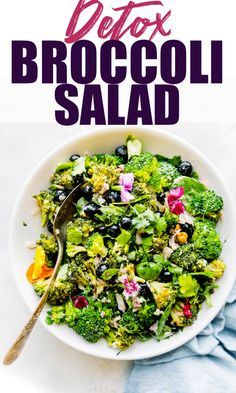 This broccoli salad recipe makes the best detox salad! It's delicious, full of nourishing veggies and fruit. NO MAYO - we use an olive oil yogurt sauce. Heart Healthy Recipes, Healthy Crockpot Recipes, Healthy Salad Recipes, Detox Recipes, Detox Foods, Detox Tips, Thm Recipes, Health Recipes, Free Recipes