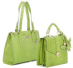 Lime green croco Brahmin bags