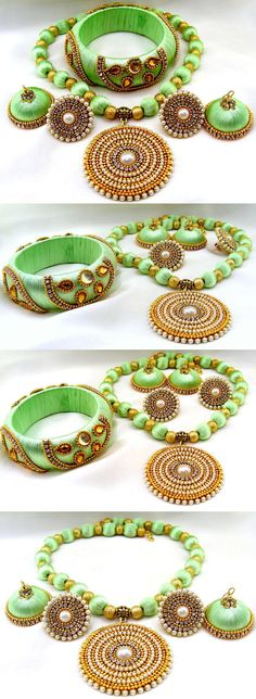 Other Asian E Indian Jewelry 11313: Traditional Silk Thread Jewelry Bangle Green Color Cz Pearl Beaded Necklace Set -> BUY IT NOW ONLY: $50 on eBay!