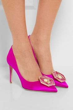 Heel measures approximately 85mm/ 3.5 inches Fuchsia satin Slip on Made in ItalySmall to size. See Size & Fit notes.