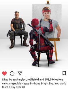 "wwprice1: ""Ryan Reynolds' very cool birthday message for Josh Brolin. """