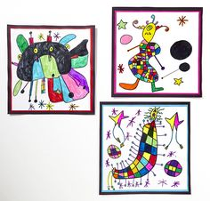 Create playful monsters by combining shapes, lines and bold colors like the Surreal artist, Joan Miro.