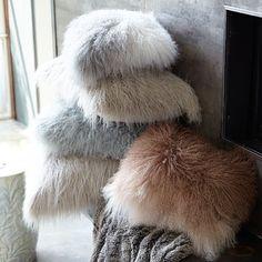 Ombre Mongolian Wool Lumbar Pillow - Taupe