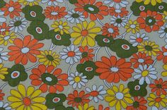 Fun MOD Daisies   Vintage Fabric 60s 70s by thoroughbredthreads, $18.00