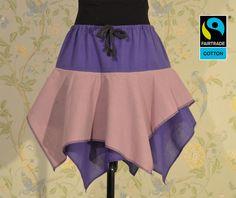 Röcke - Fairtrade Zipfelrock in Traube & Altrosa, f... - ein Designerstück von FairTale bei DaWanda