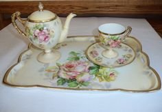 Antique Prussia Royal Rudolstadt pink yellow roses Tray Teapot Cup Saucer set