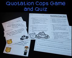 Quotation Mark Game - great for teaching dialogue and comes with a quiz
