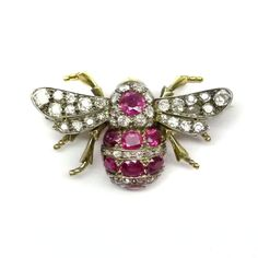 Antique ruby and diamond bee brooch c.1860