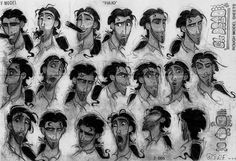 Production art and model sheets from the 2000 DreamWorks feature, The Road to El-Dorado. The characters are in a semi-realistic style, but look at the squash and stretch: that's the magic of animation.